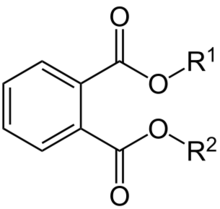 o-Phthalsäureester. R1, R2 = CnH2n+1 (n = 4–15). Quelle: Jü (Own work) [Public domain], via Wikimedia Commons